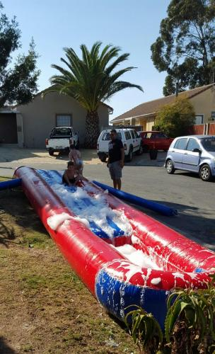 2 x 10m Single waterslide red and blue